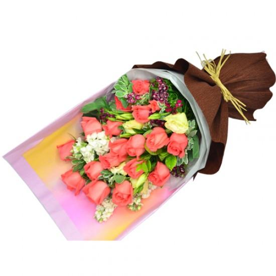 18pcs PINK Roses Valentine Bouquet