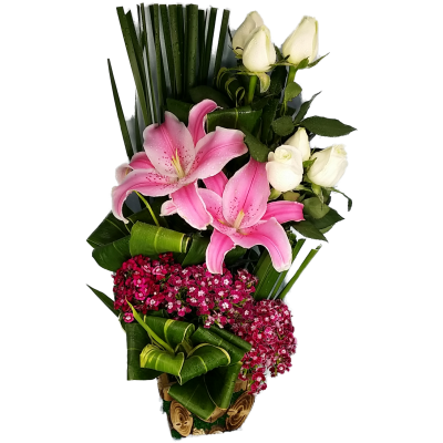 Lily and Roses arrangement in a Wicker Basket