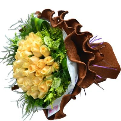 50pcs Champagne Color of Roses Bouquet