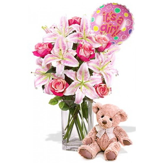 Oriental and Rose Package , Medium Teddy Bear and balloon