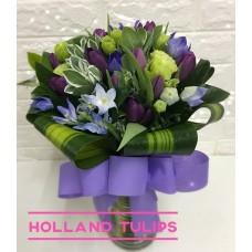 Holland Purple Tulips arrangement in Vase