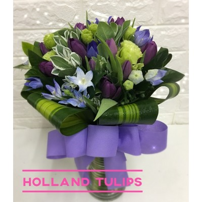 Holland Purple Tulips arrangement in Vase